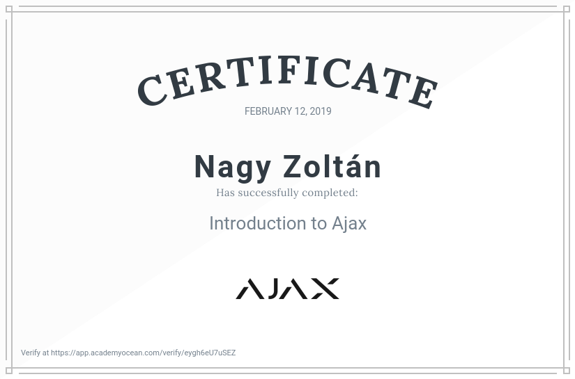 Ajax Systems EN certificate: Introduction to Ajax