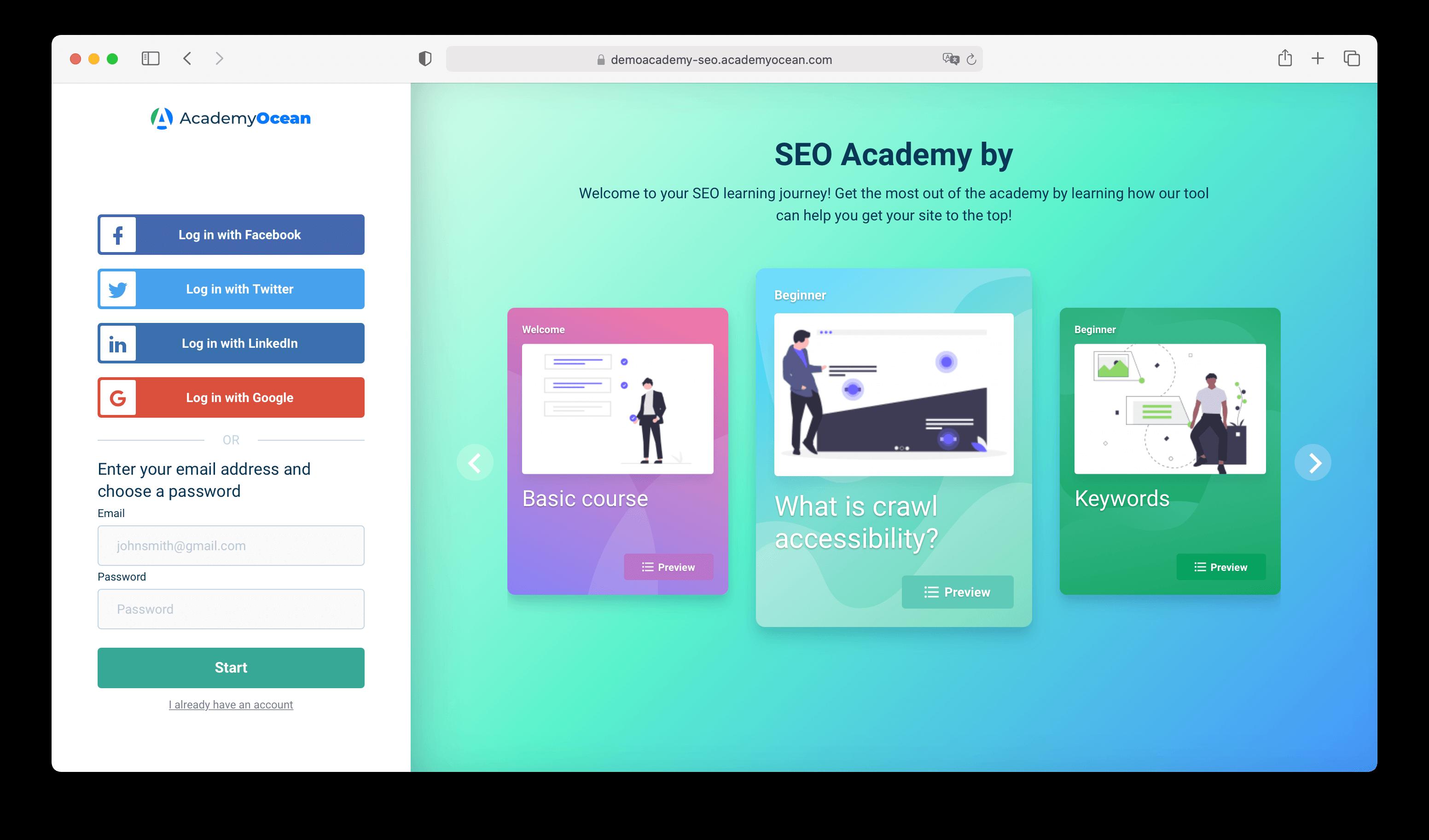 SEO Academy example
