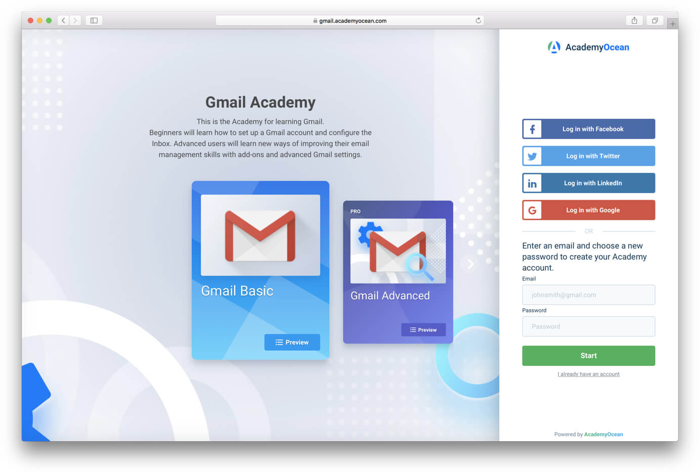a screen of Gmail Academy