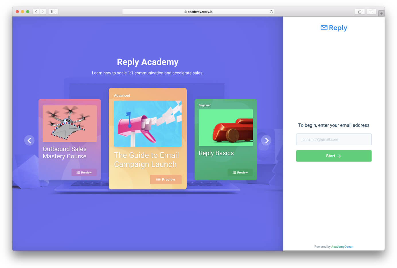 a screen of Academy Reply.io