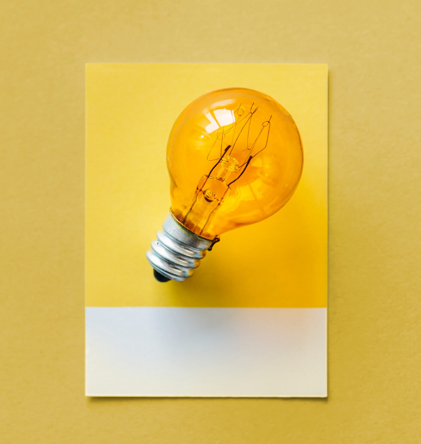 a bulb on the orange background