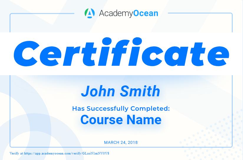 AcademyOcean certificate example