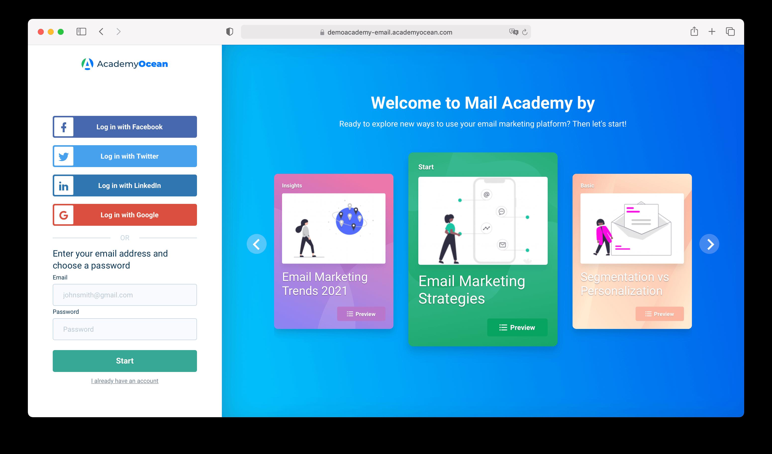 Email academy by AcademyOcean