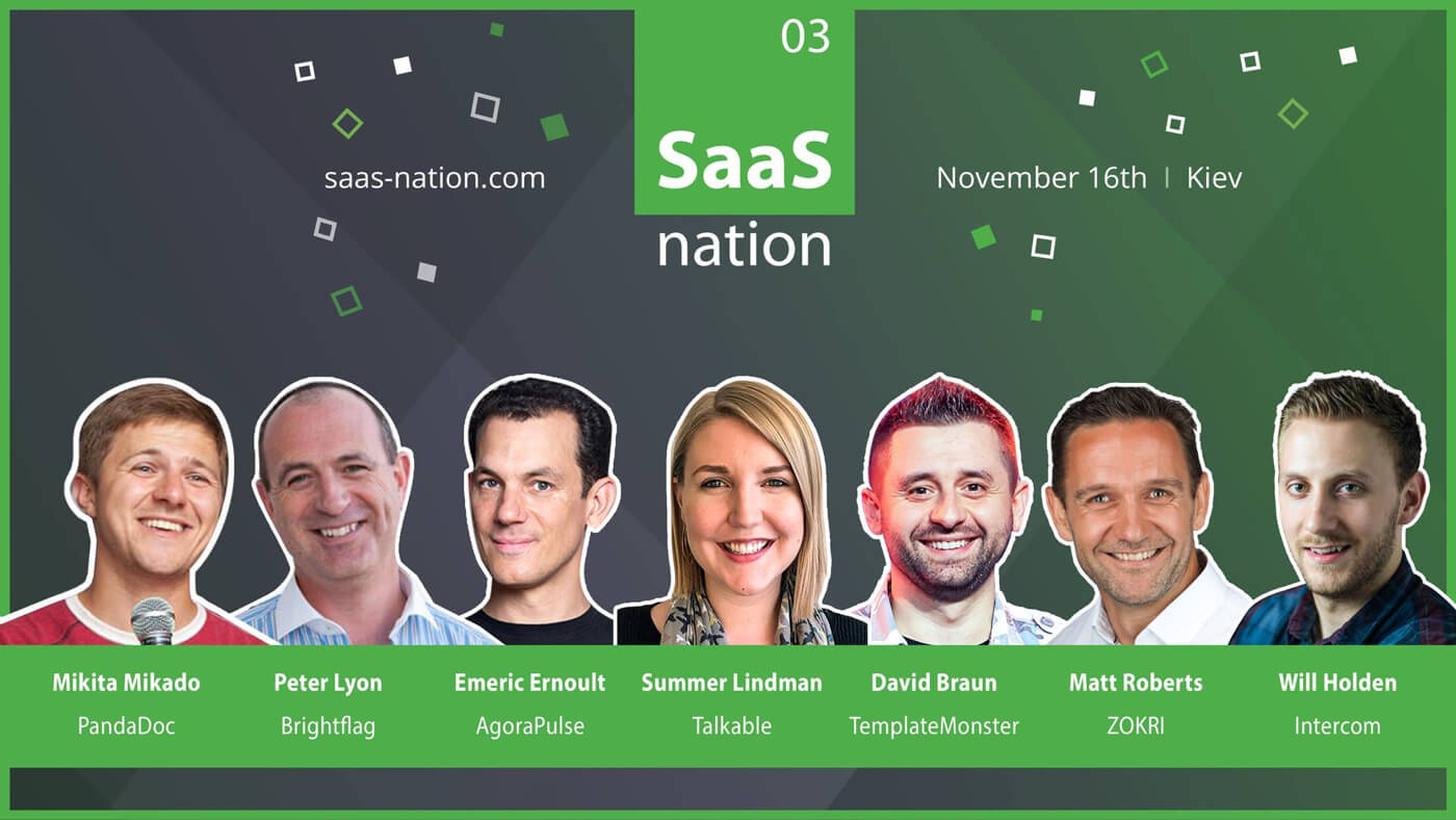 a poster with seven participants at SaaS Nation 2018