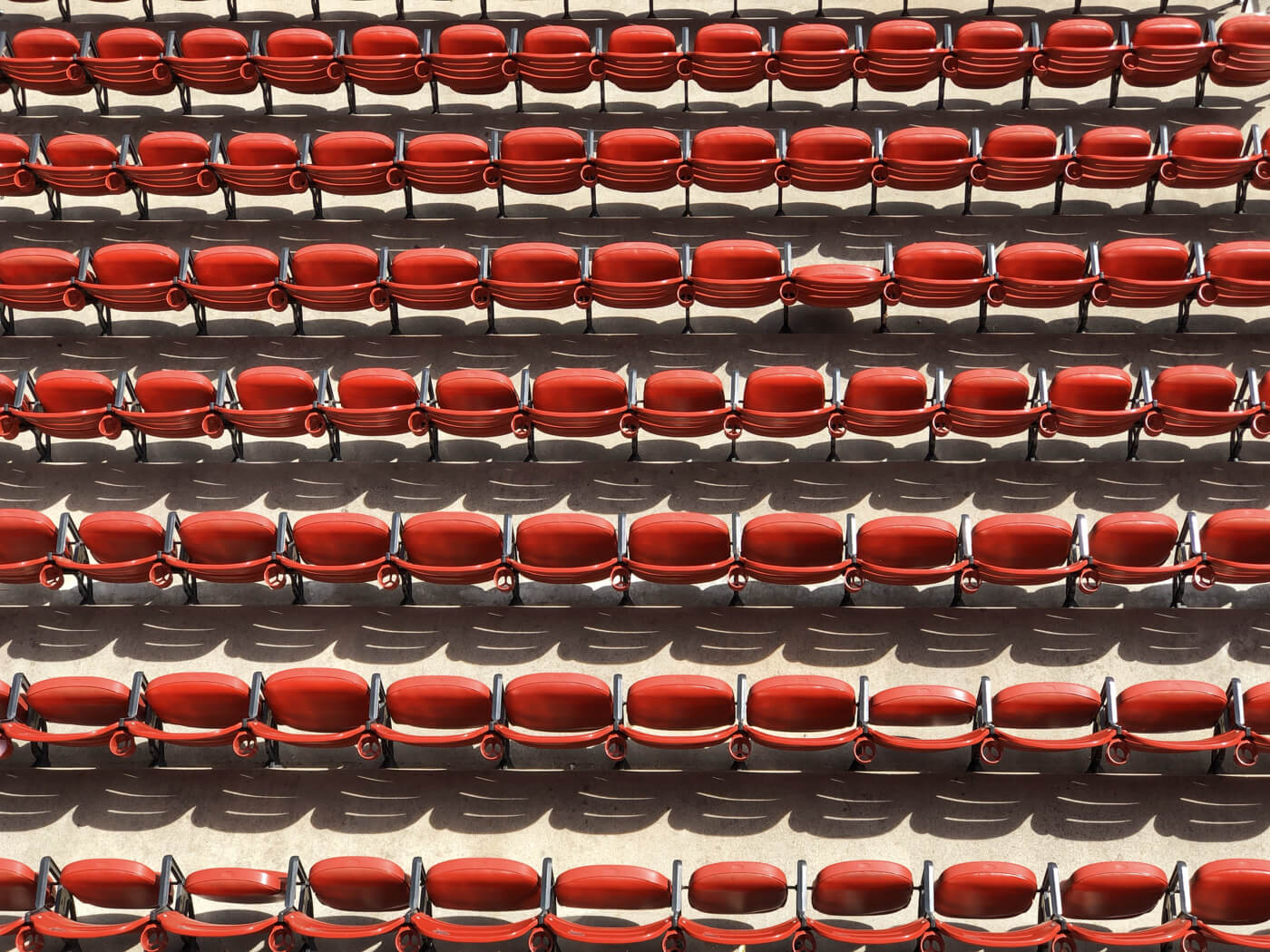 several rows of red seats