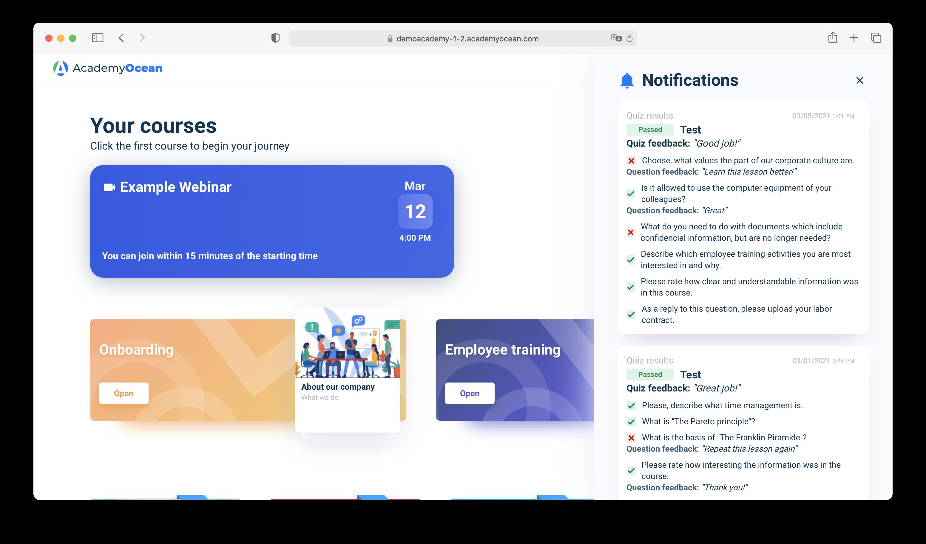 Learner notification center